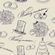 Vintage wedding seamless texture. Stock Illustration