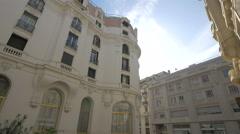 Buildings located on Rue du Commandant Berretta cross to Rue Cronstadt, Nice Stock Footage