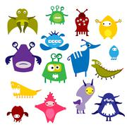 Color alien monster - stock illustration