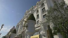 Beautiful facade of Le Negresco Hotel in Nice Stock Footage