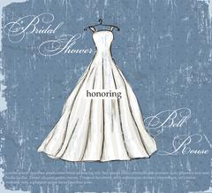 Stock Illustration of Vintage poster with beautiful wedding dress.