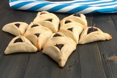 Purim - traditional cookies hamantaschen or Haman's ears - stock photo