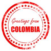 Greetings from colombia - stock illustration
