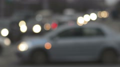 Traffic in the city. Dusk Defocused - stock footage