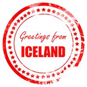 Greetings from iceland - stock illustration