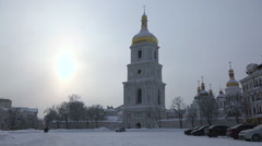 A Large Area of the Church in the Winter Stock Footage