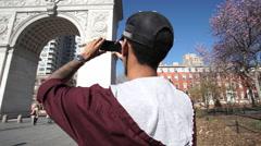 Technology at Washington Square Park Stock Footage