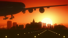 Saskatoon Canada Airplane Landing Skyline Golden Background Stock Footage