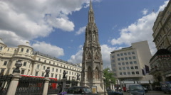 The Eleonor Cross in Charing Cross Station forecourt in London Stock Footage