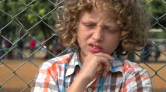 Confused Young Boy Child Stock Footage