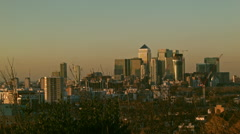 LONDON, UK - Panning from Canary Wharf to the Shard - stock footage