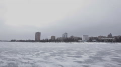 Frozen River in the City Stock Footage