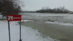 Aerial danger sign at flooded dam Stock Footage
