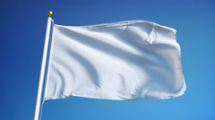 Empty white clear flag in slow motion seamlessly looped with alpha - stock footage