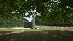 Memorial plaque in the park, on The Mall in London Stock Footage