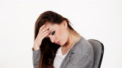 Woman tired sad face expression 4K - stock footage