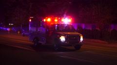Ambulance Leaving Crash Scene Stock Footage