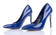Blue high heels shoes - stock photo