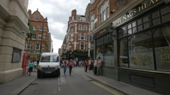 Stock Video Footage of Floral and James streets with restaurants in London