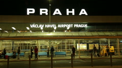 The Prague National Airport Vaclav Havel during the night. Spring 2016 Stock Footage