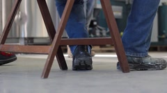 Construction boots after some work Stock Footage