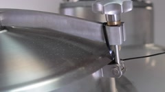 Stainless brewery equipment closeup on slider Stock Footage