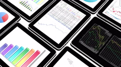 4k Mobile devices,finance pie charts & stock trend diagrams in the ipad. - stock footage