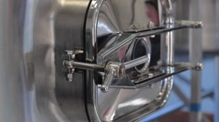 stainless brewery tank latch smooth view - stock footage