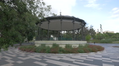 A bandstand seen in Jardin Albert I on a cloudy day in Nice Stock Footage