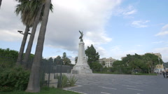 Monument du Centenaire seen at Jardin Albert I in Nice Stock Footage