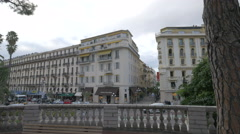 Buildings on Avenue de Verdun seen from Jardin Albert I in Nice Stock Footage