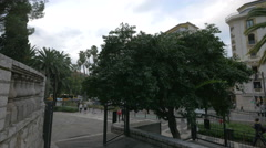 Walking on Avenue de Verdun, near the Jardin Albert I in Nice Stock Footage