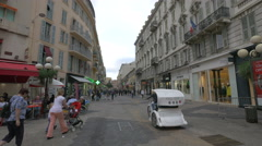 Walking on Rue Massena, near Place Magenta, in Nice Stock Footage