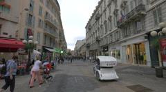 Walking on Rue Massena, near Place Magenta, in Nice Stock Footage