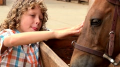 Young Boy Petting Horse Stock Footage