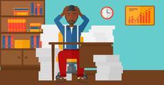 Man in despair sitting in office - stock illustration