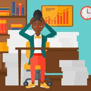 Woman in despair sitting in office - stock illustration