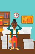Woman in despair sitting in office Stock Illustration