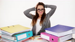 woman tired with stack of folders documents 4K - stock footage