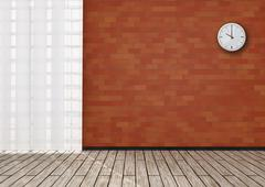 Detail of room with round wall clock on red brick. - stock illustration