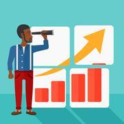 Stock Illustration of Man looking at positive bar chart