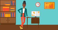 Cheerful office clerk - stock illustration
