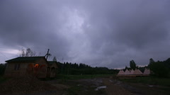 Camping dramatic sky on summer Stock Footage