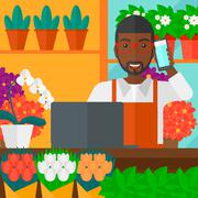 Florist taking order Stock Illustration