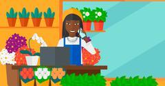 Florist taking order - stock illustration