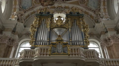 Amazing view of organ pipes of Saint Jakob Cathedral in Innsbruck Stock Footage