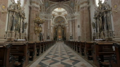 Amazing view inside Saint Jakob Cathedral in Innsbruck Stock Footage