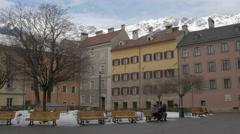 View of people in Domplatz, Innsbruck Stock Footage