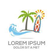 Logo Beach Holiday Sunset Ocean Vocation - stock illustration