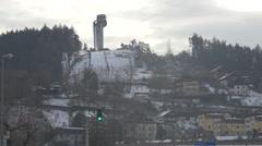 View of Bergiselschanze in Innsbruck Stock Footage